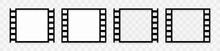 Sepia Film Strip Isolated On Transparent Background. Set Of Realistic Black Photo Frame Logo Template. Vintage Retro Cinema Movie Filmstrip. Vector Illustration.