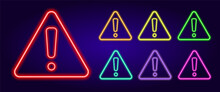 Neon Exclamation Mark In A Triangle. A Set Of Attention Signs Of Different Colors Is An Exclamation Mark In A Triangular Shape . Isolated Multicolored Collection Of Glowing Bug Icons