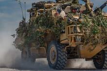 British Army Supacat Jackal 4x4 Rapid Assault, Fire Support And Reconnaissance Vehicles On Exercise, Salisbury Plain (SPTA) UK
