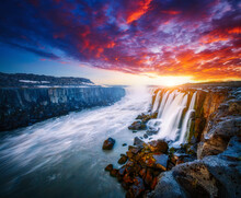 Breathtaking View Of The Grand Selfoss Cascade. Iceland, Europe.
