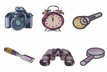 6 (six) Set Collection Of Camera, Alarm Clock, Flashlight, Chisel, Magnifying Glass,band Binoculars