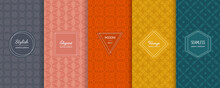 Vector Geometric Seamless Patterns Collection. Set Of Simple Abstract Background Swatches With Elegant Minimal Labels. Modern Colorful Textures. Gray, Pink, Orange, Yellow, Teal Color. Trendy Design