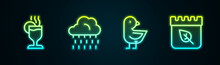 Set Line Mulled Wine, Cloud With Rain, Little Chick And Calendar Autumn Leaves. Glowing Neon Icon. Vector