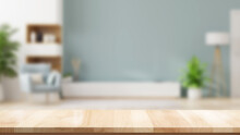 Empty Brown Wooden Table Product Display Montage With Blurred Pastel Living Room Interior Background