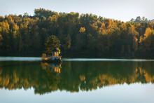 Lake Gazebo Reflection Trees Autumn