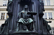 Cultural Monument Holy Roman Priest Of Emperor Charles Or King Karel IV Statue For Czechia People And Foreign Travelers Travel Visit Near The Charles Bridge At Praha City In Prague, Czech Republic