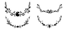Set Of Black Semicircular Frame With Twig, Moon And Star. Vector Nature Design Elements. Silhouette Of Plant Borders For Articles, Invitations And Cards. Natural Print Design Element