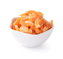 Dried Shrimp In Bowl Isolated On White Background