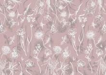 Seamless Pink Wildflower Illustration Pattern