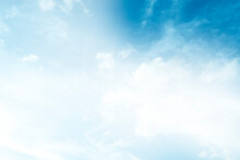 Abstract Nature Background Scattering Of White Clouds In The Bright Blue Sky.