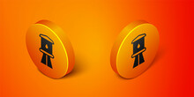 Isometric Water Tower Icon Isolated On Orange Background. Orange Circle Button. Vector