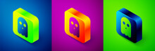 Isometric Ghost Icon Isolated On Blue, Purple And Green Background. Happy Halloween Party. Square Button. Vector