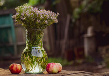 A Bouquet Of Wild Flowers In A Vintage Transparent Glass Vase, Which Stands On A Table In The Garden, On The Street In Summer; Two Ripe Apples Are Lying Next To It.