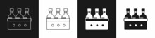 Set Bottles Of Wine In A Wooden Box Icon Isolated On Black And White Background. Wine Bottles In A Wooden Crate Icon. Vector