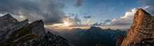 Sunset In The Mountains Panorama
