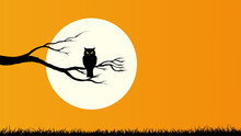 Happy Halloween With Owl Holding On Tree Branch And Full Moon, Orange Color Background
