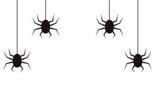 Iconos De Arañas Colgadas Negras En Fondo Blanco.