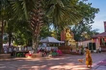 NAN.Thailand- 17 Dec 2020:Unacquainted People Walking In Wat Phuket Pua District Nan.Phuket Temple Is A Temple Is Nan Province