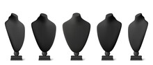 Realistic Black Stands For Jewelry. Bust Necklace Mannequin Vector Realistic. Mannequin No Head.