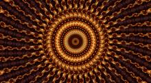 Beige Star On Brown Background, Abstract Flower Kaleidoscope