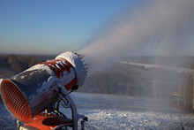 Snow Cannon In Action At Ski Resort. Snow Gun At Work.