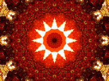 Glowing Fiery Oriental Ornament, Image For Buddhist Mantra