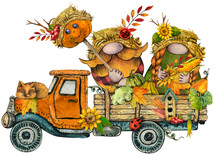 Watercolor Thanksgiving Truck With Fall Scarecrow Gnomes With Pumkins And Autumn Flowers, Bright Rustic Pickup Harvest Festival Illustration