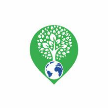 Global Human Tree Vector Logo Design Template. Green Pin Point Icon Logo Concept.