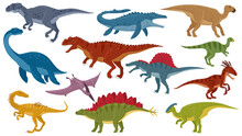 Cartoon Dinosaurs, Jurassic Extinct Dino Raptors, Predators And Herbivores. Jurassic Dinosaurs Reptile, Tyrannosaurus, Stegosaurus, Pterodactyl Vector Illustration Set