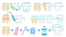 Cartoon Teeth Whitening. White Clean Tooth Mascot, Tooth Brushing And Sad Yellow Teeth Vector Illustration Set