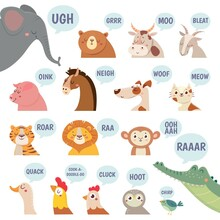 Animals Sounds. Cute Animal Making Sounds Cat And Dog, Sheep And Cow, Pig And Hen, Horse And Lion, Bear And Monkey Cartoon Vector Set