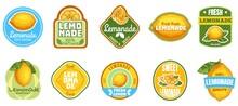 Lemonade Label. Natural Lemon Juice, Fresh Fruits Lemonades Drinks Badge And Summer Sweet Beverage Sticker Vector Set