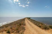Embankment Dam On Lake Sasyk-Sivash Between The Salt And Fresh Parts.