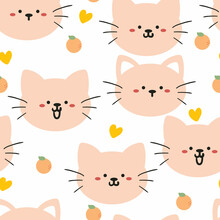 Seamless Pattern With Cute Cartoon Cats For Fabric Print, Textile, Gift Wrapping Paper. Colorful Vector For Textile, Flat Style