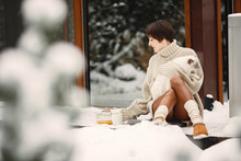 Outdoor Photo Of Cozy Female On The Terrace