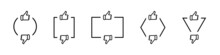 Thumb Up And Thumb Down Vector Icons Set With Geometric Figures. Like And Dislike Linear Icons Set. Linear Art Style. Social Media Like Dislike Buttons. Social Media Symbols. Vector Graphic.