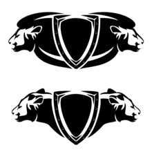 Iron Studded Heraldic Shield With Lion And Lioness Profile Head For Security Concept - Black And White Vector Coat Of Arms Design Set