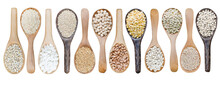 Collection Of Dry Organic White And Brown Cereal And Grain Seed Pile In Wooden Spoon Isolated On White Background