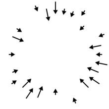 Arrows Pointing Inward. Radial, Radiating Arrows, Pointers