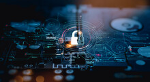 Cyber Security.Digital Padlock Icon,Cyber Security Technology Network And Data Protection Technology On Virtual Dashboard.Online Internet Authorized Access Against Cyber Attack Privacy Business Data