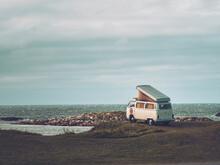 Vintage Campervan At Coast
