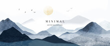 Blue Mountain Background Vector. Oriental Luxury Landscape Background Design With Watercolor Brush Texture. Wallpaper Design, Wall Art For Home Decor And Prints.