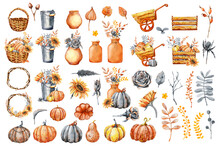 Set Of Elements Of Autumn Design, Bouquets, Sunflowers, Flowers, Fallen Leaves, Basket, Wreath, Wild Rose, Fezalis. Watercolor Illustration Isolated On White Background