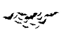 Simple Illustration Of Bats Silhouette For Halloween Day Greeting Cards