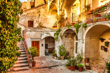 Ancient Buildings In Matera City On A Rocky Outcrop In The Region Of Basilicata In Southern Italy