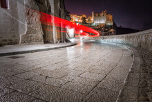 Streets Of  Matera City On A Rocky Outcrop In The Region Of Basilicata In Southern Italy At Night
