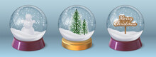 Realistic Crystal Snow Ball With Snowman And Christmas Tree. Glass Globe Sphere With Winter Holiday Decoration. 3d Xmas Snowglobe Vector Set