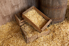 A Box Of Hay. The Floor Is Covered With Hay. Barn