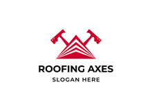 Roofing Hatchets Logo. House Roof Levels Triangle With Two Crossed Carpenter Axes Logotype. Construction Or Building Company Branding Symbol