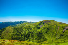 Beautiful, Summer Slopes Of Mountains Covered With Green Young Grass Against The Blue Sky, Travel. High Quality Photo